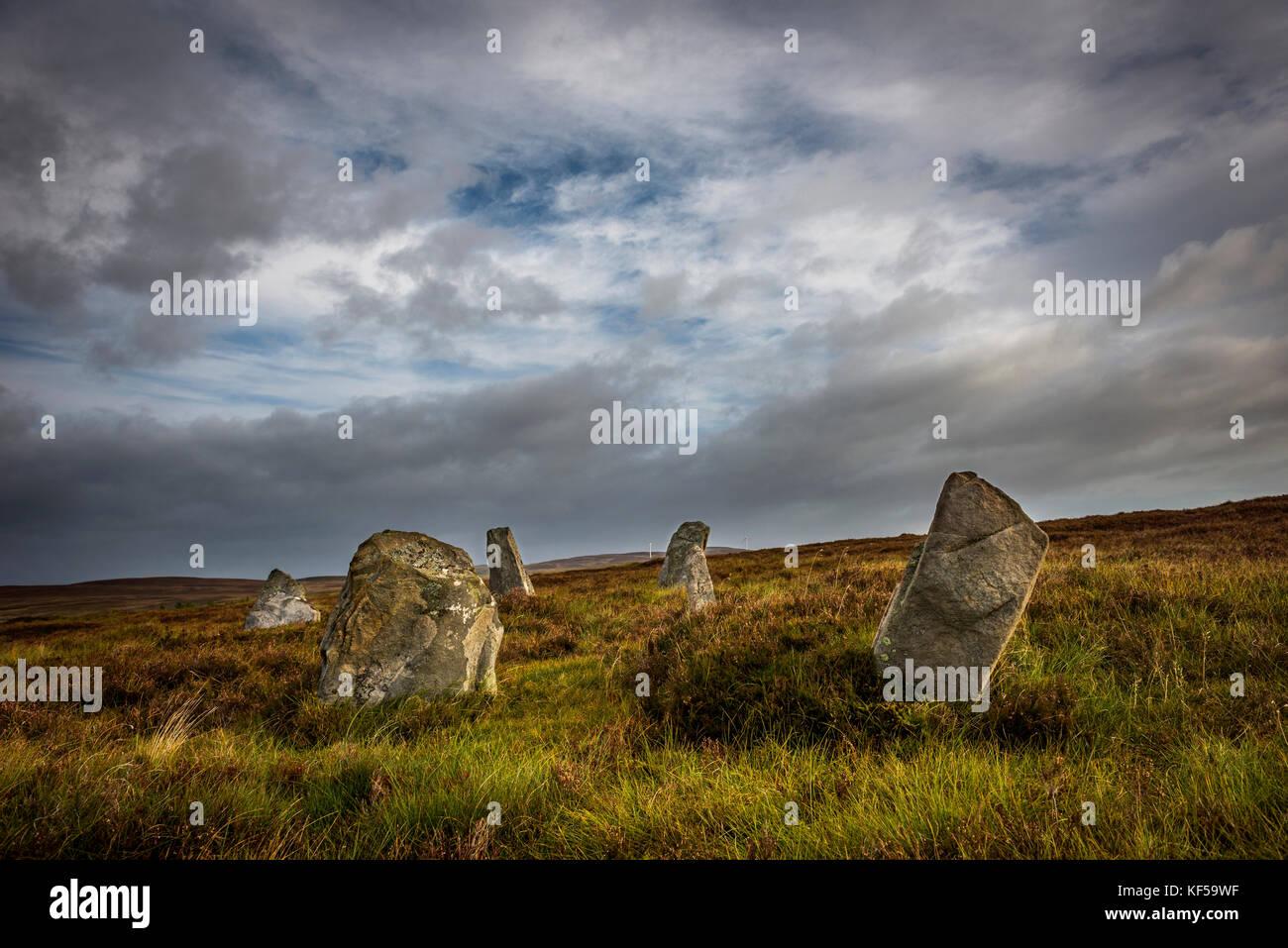Achinduich ruined double stone circle near Lairg, Sutherland, Scottish Highlands, UK - Stock Image