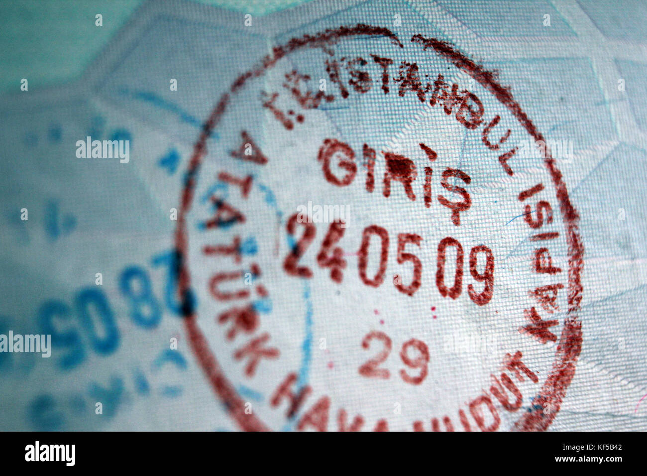 Detail of old passport with Turkey visa stamp - Stock Image