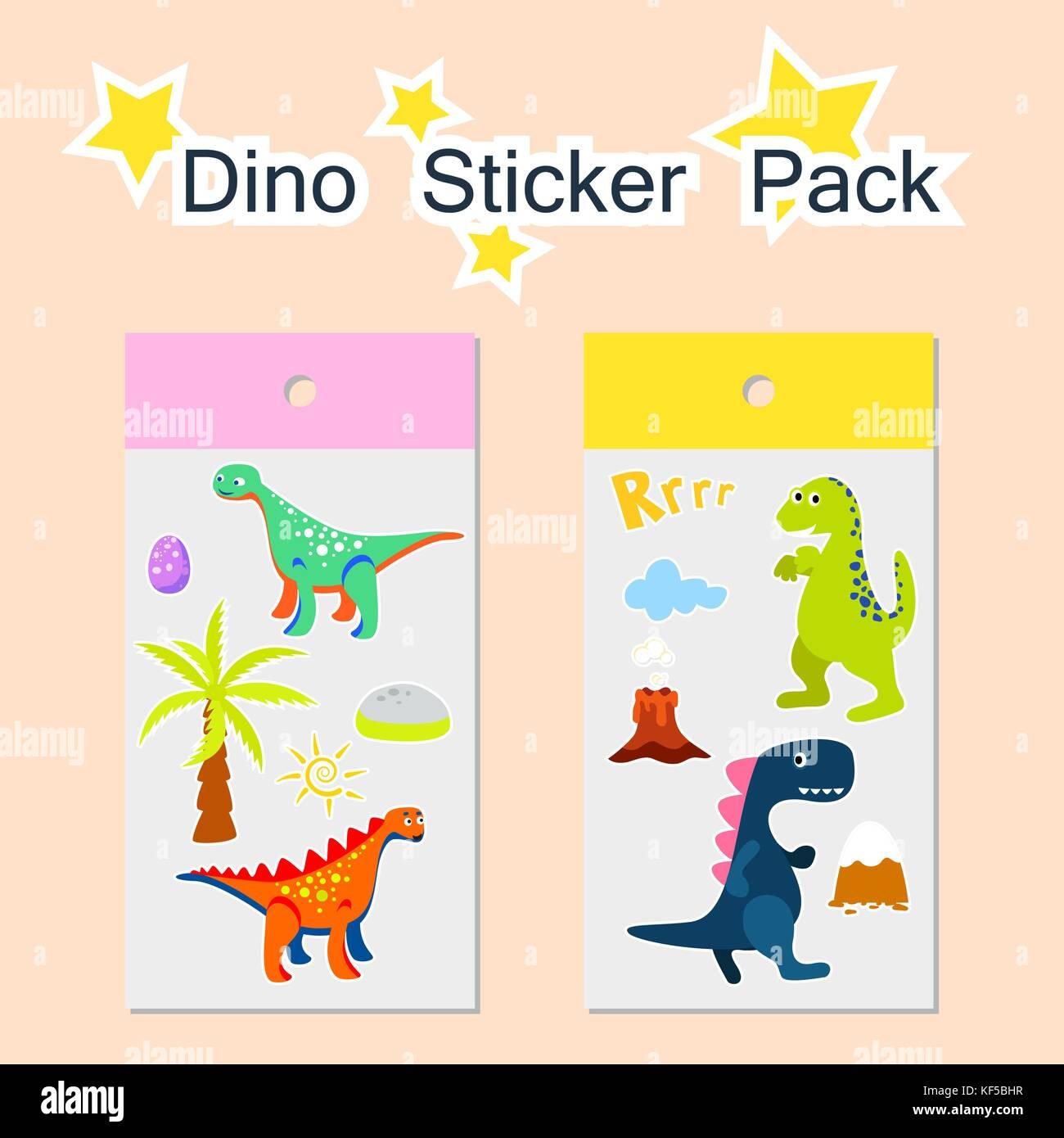 Dino sticker pack vector illustration. - Stock Image