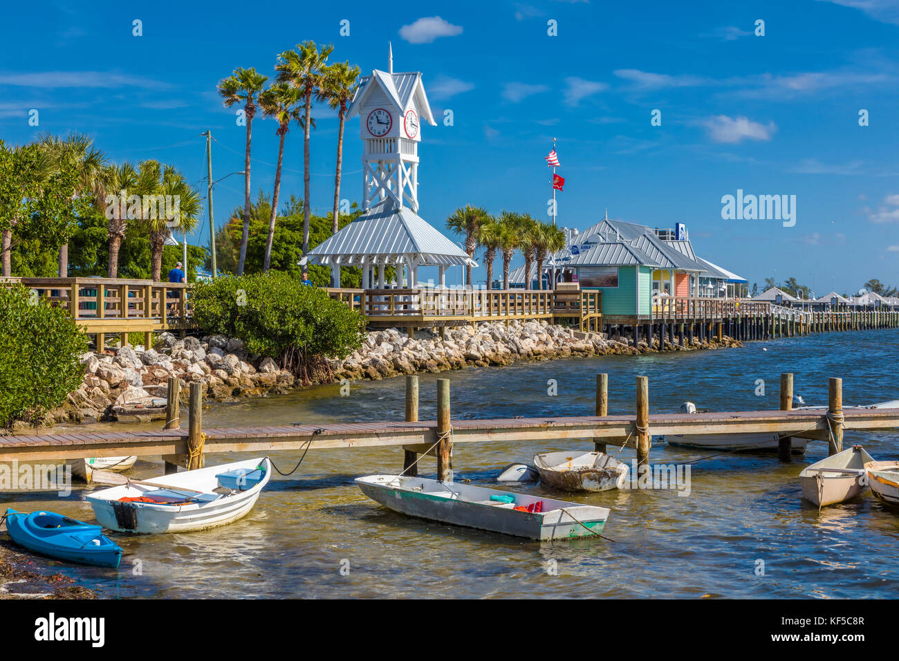 Bridge Street Pier and clock tower on Anna Maria Island in