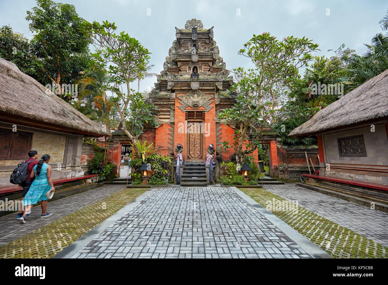 Puri Saren Agung, also known as Ubud Palace at dusk. Ubud, Bali, Indonesia. - Stock Image