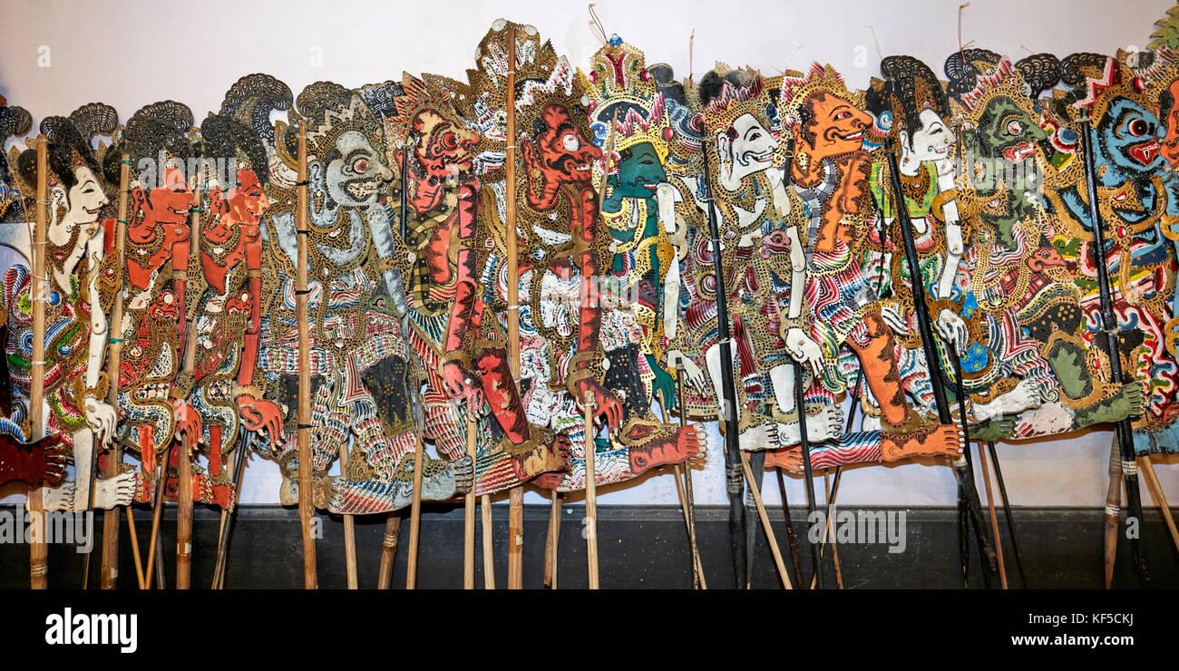Balinese Shadow Puppets for Mahabharata performance. Setia Darma House of Masks and Puppets, Mas, Ubud, Bali, Indonesia. - Stock Image