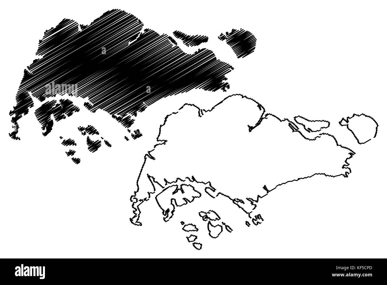Singapore map vector illustration, scribble sketch Singapore Stock ...