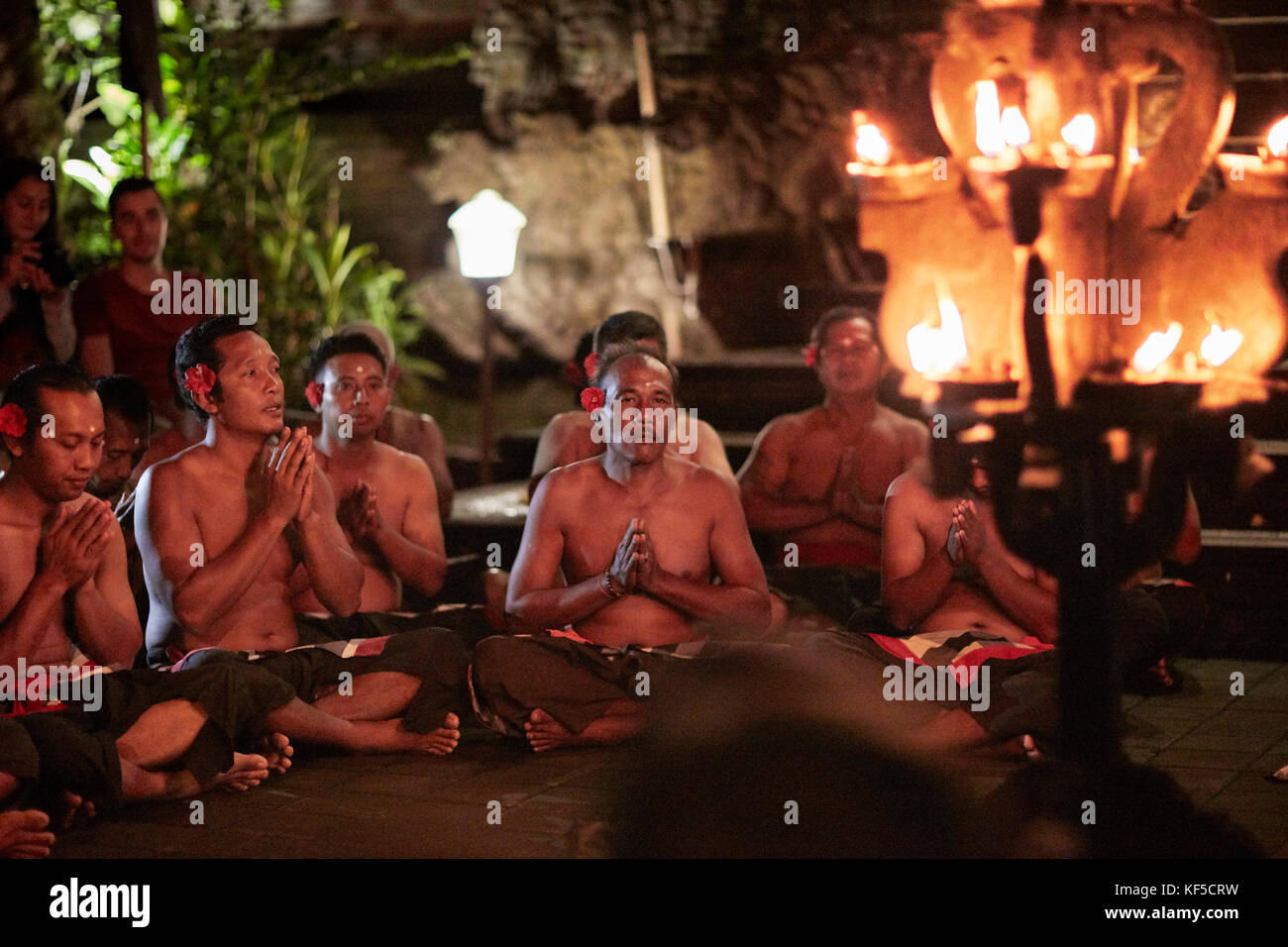Kecak dance performance at Pura Puseh temple. Ubud, Bali, Indonesia. - Stock Image
