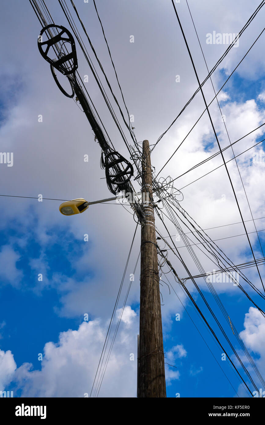 Electricity Wires In Mexico Stock Photos Power Aerialwiringpicturejpg Messy Electric Aerial And Pole Image