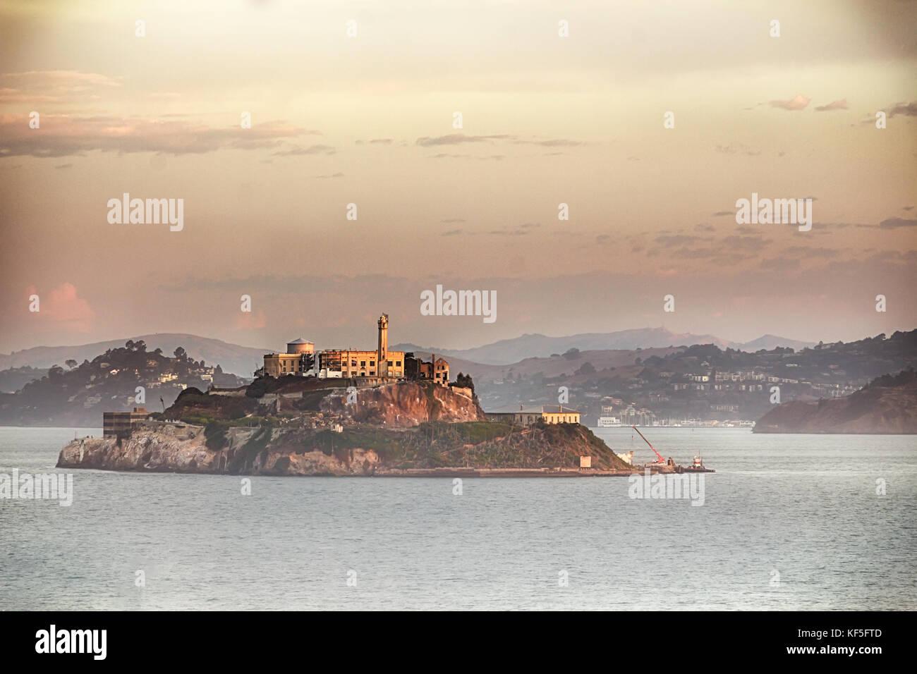 The Alcatraz Island in San Francisco, film retro style. Stock Photo