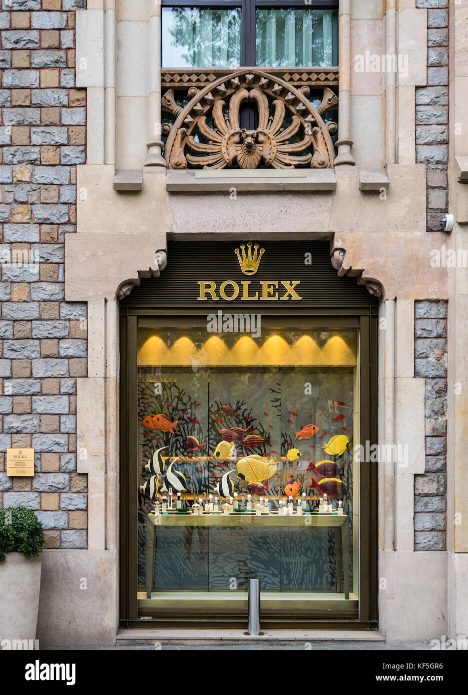 Official Rolex retail store, Barcelona, Spain, - Stock Image