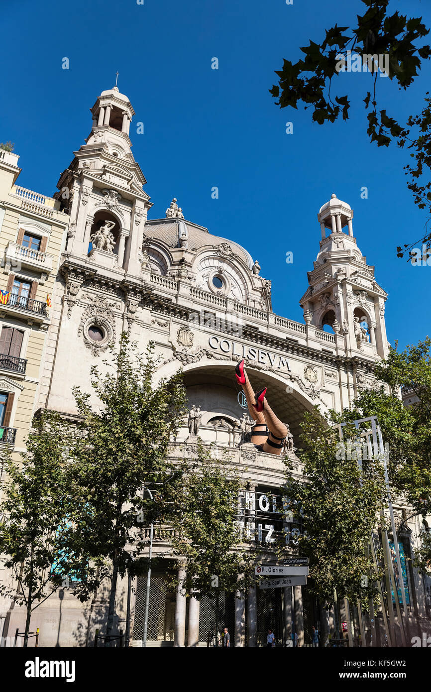 Cine Coliseum, Gran Via, Barcelona, Spain. - Stock Image