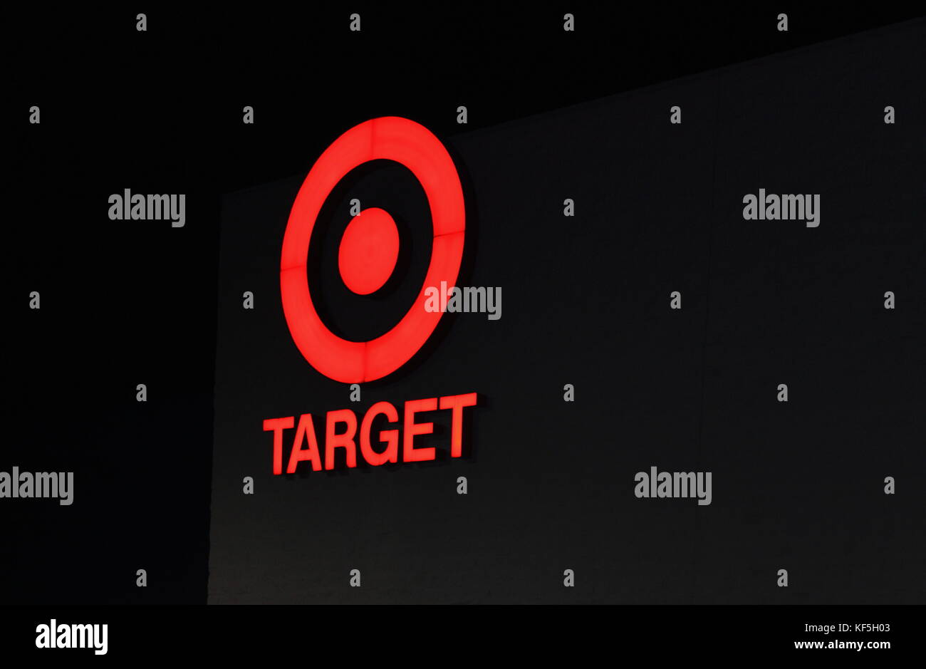 Detroit, MI, USA - 1 October 2016: Close up image at night  of the iconic Target Discount Store Sign. Target is - Stock Image