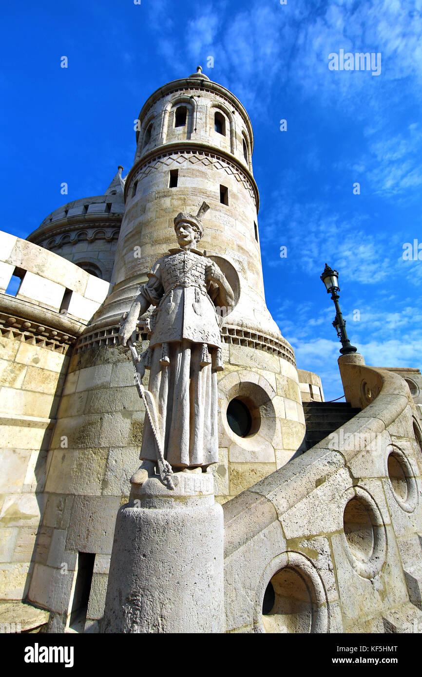 The Fisherman's Bastion or Halaszbastya in Budapest, Hungary - Stock Image