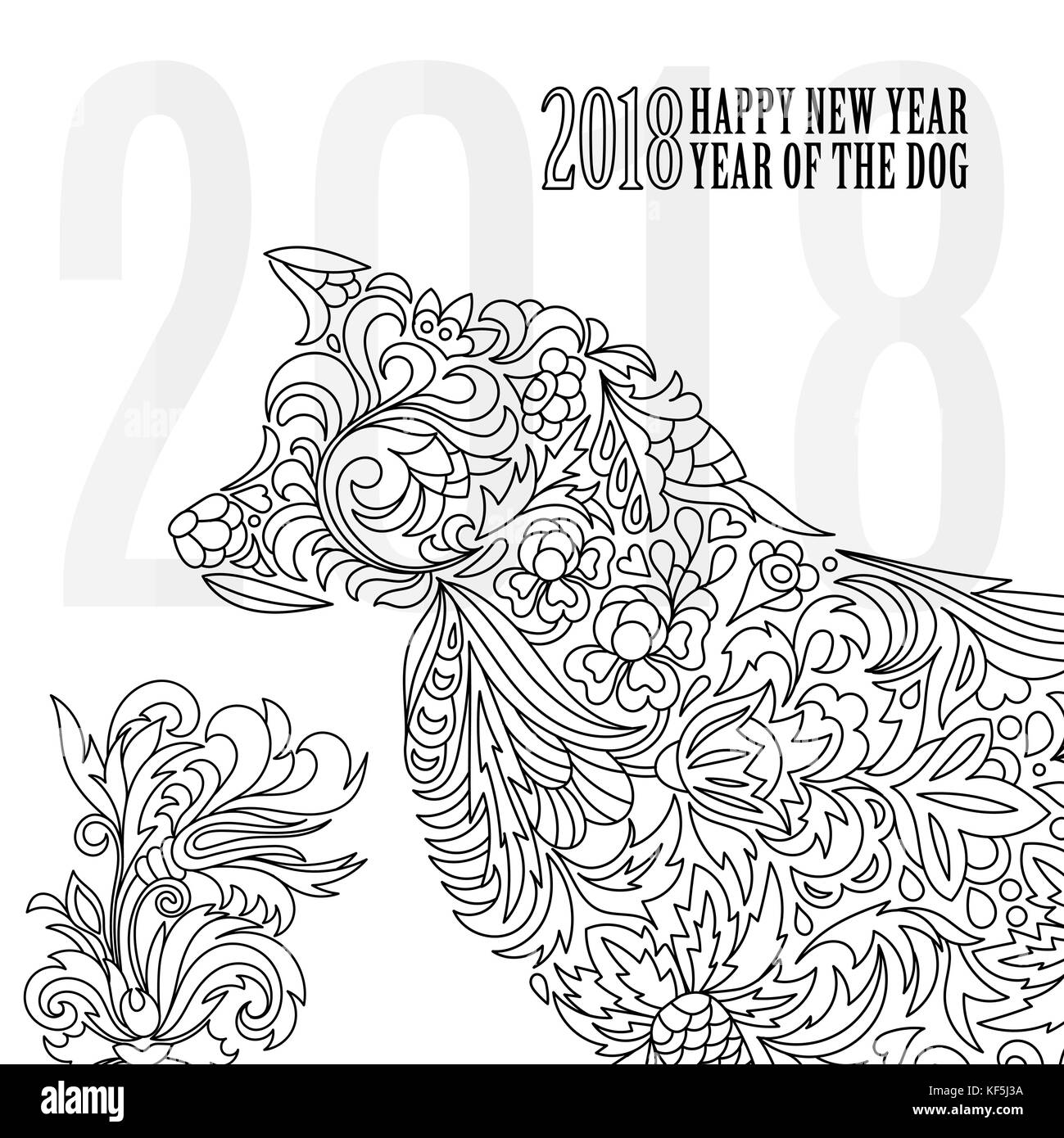 greeting chinese new year card with stylized dog one color print vector illustration