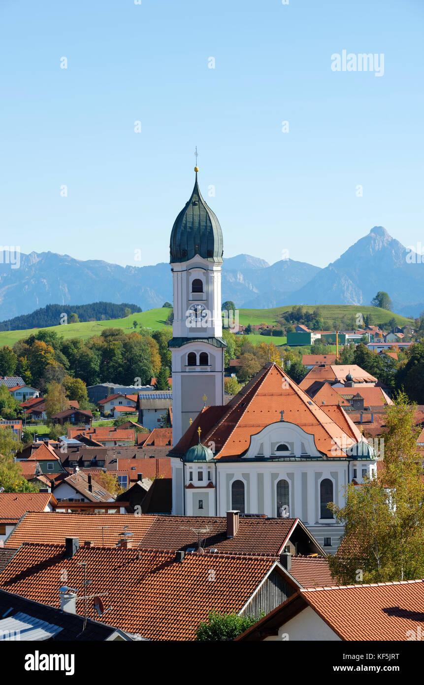 View of Nesselwang in front of the Alps, Ostallgäu, Allgäu, Swabia, Bavaria, Germany - Stock Image