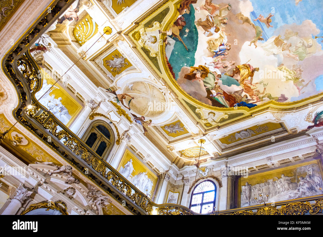 interiors of Villa Pisani, a painted fresco ceiling with golden balcony (Venice, Italy, 25 Apr 2017) - Stock Image