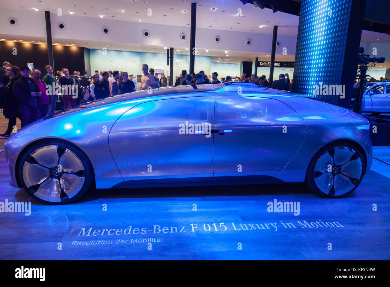 Frankfurt, Germany - Sep 20, 2017: Mercedes Benz F 015 Luxury Electric Car at the Frankfurt International Motorshow - Stock Image