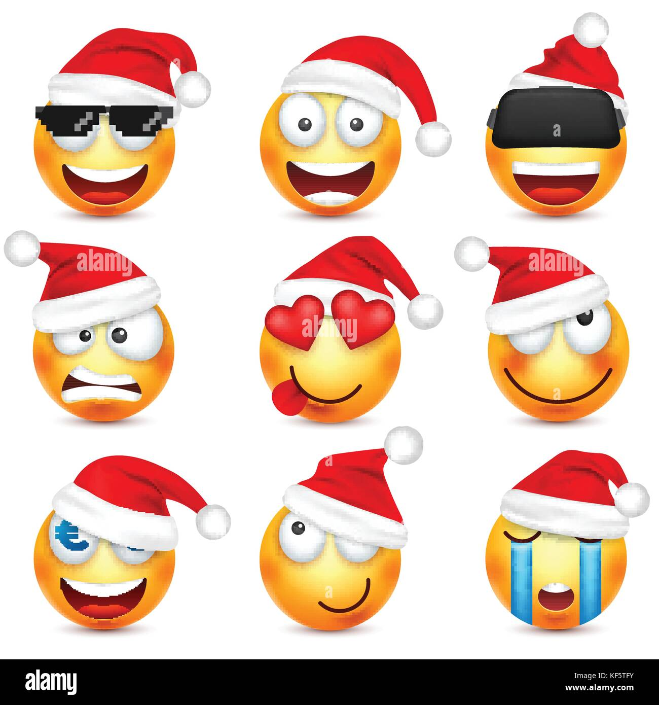 yellow face with emotions and christmas hat new year santawinter emoji sadhappyangry facesfunny cartoon charactermood vector