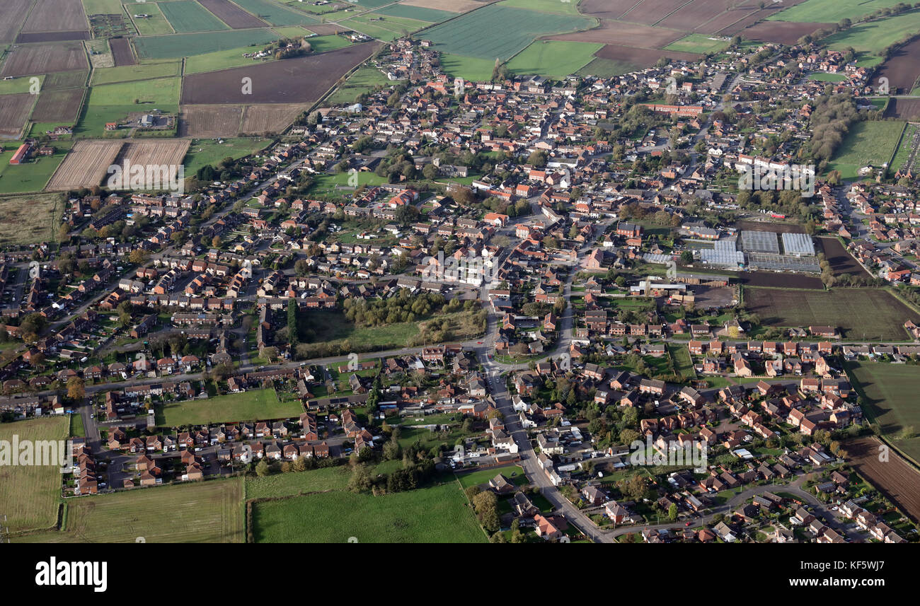 aerial view of Crowle, a small town in North Lincolnshire, UK - Stock Image