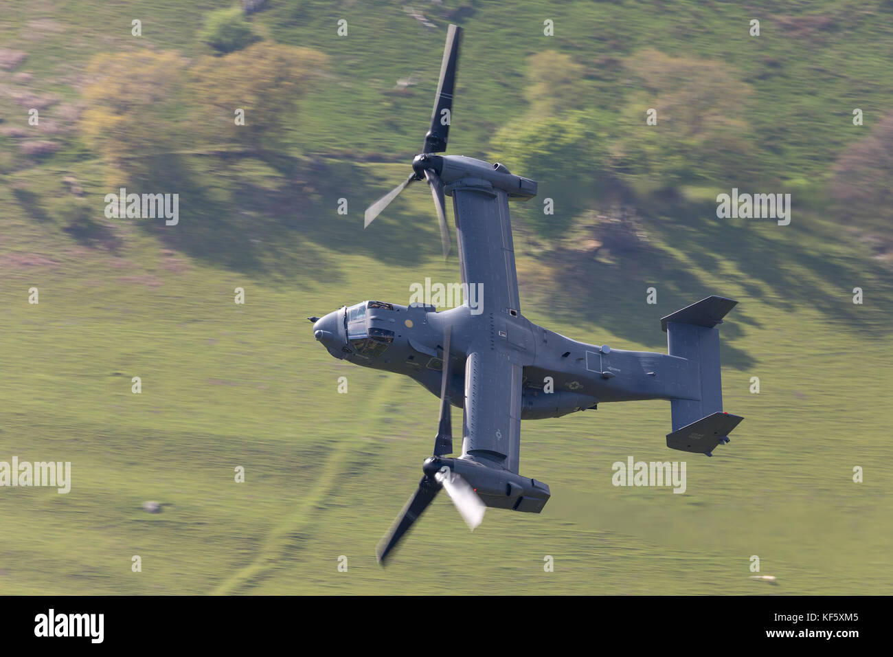 The Mach Loop in Wales is a military low level training location Stock Photo