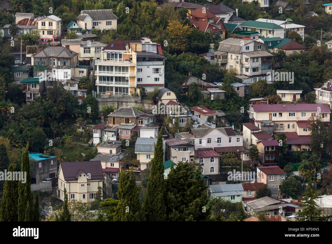 Aerial view of apartment buildings in central Sochi city, Russia - Stock Image