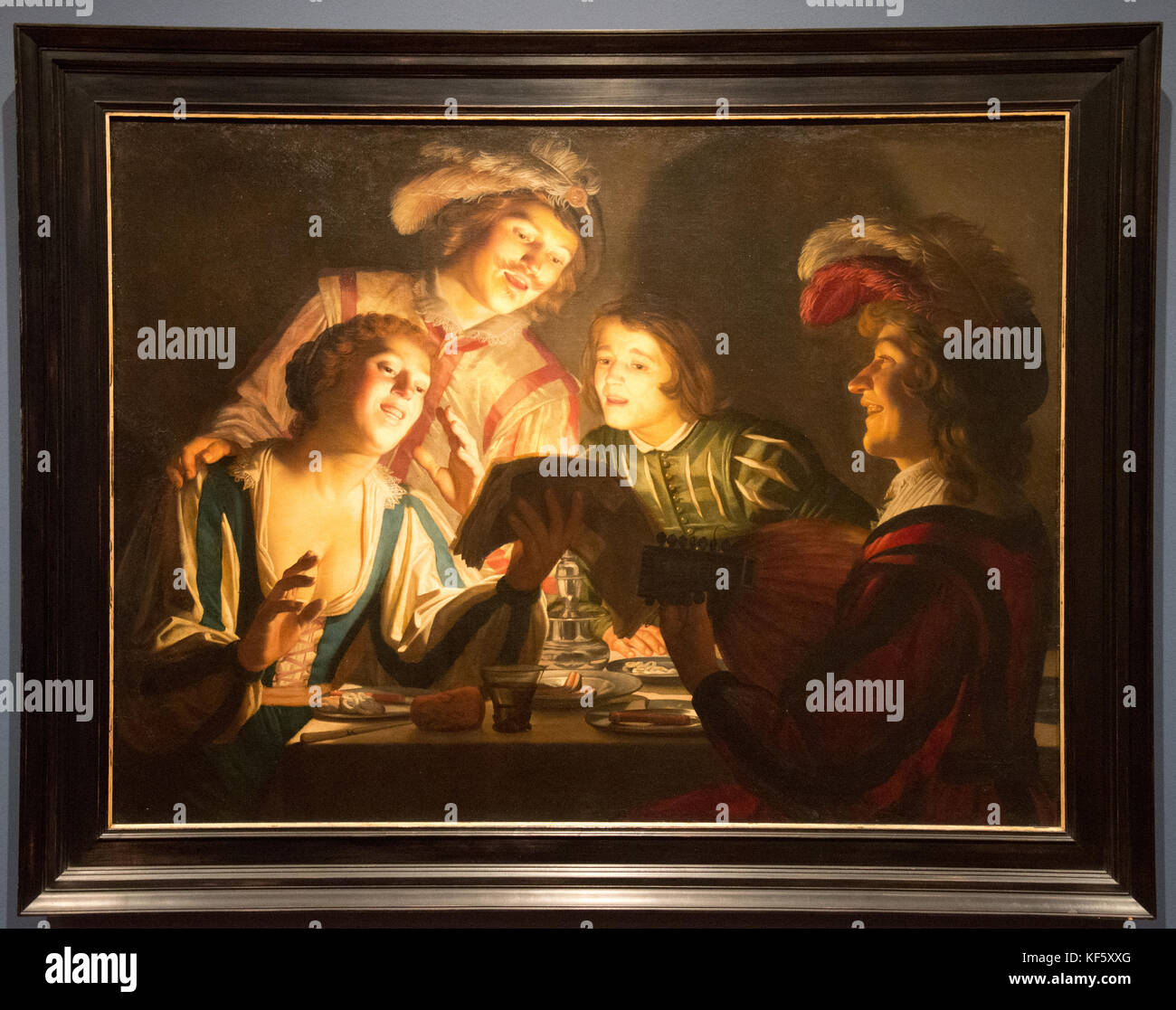 'musical group by candlelight' from Gerard van Honthorst - Stock Image