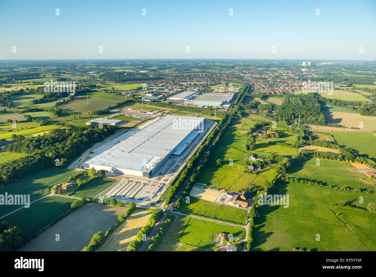 Amazon logistic center Werne, under construction, Baustelle Amazon Logistik Werne, Logistikzentrum, Internethandel, Stock Photo