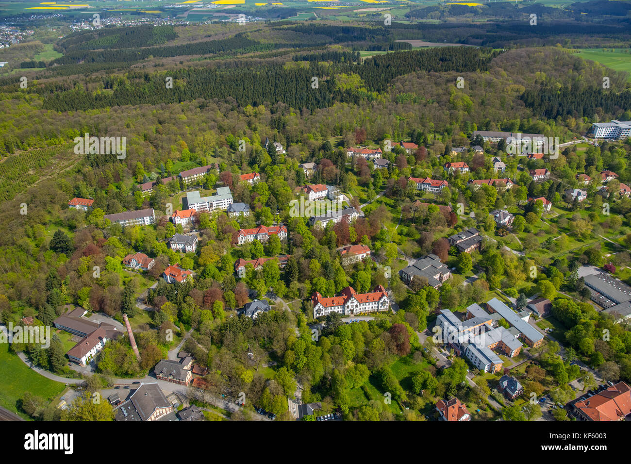 LWL Clinic, Warstein, Sauerland, North Rhine-Westphalia, Germany, Europe, Aerial View, Aerial, aerial photography, - Stock Image