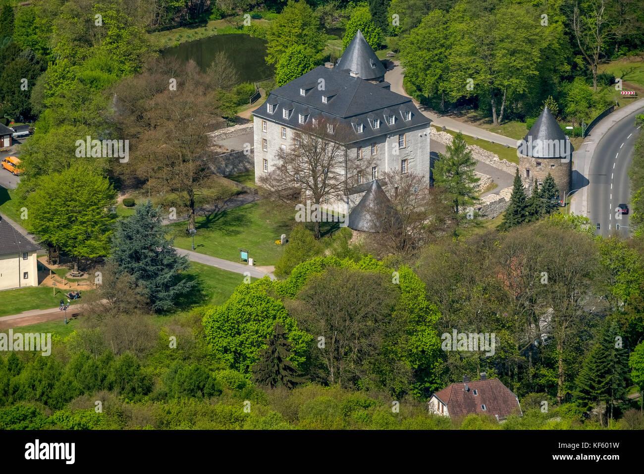 VORBERG CASTLE HARDENBERG, Velbert-Neviges, Velbert, Ruhr area, North Rhine-Westphalia, Germany, Europe, aerial - Stock Image