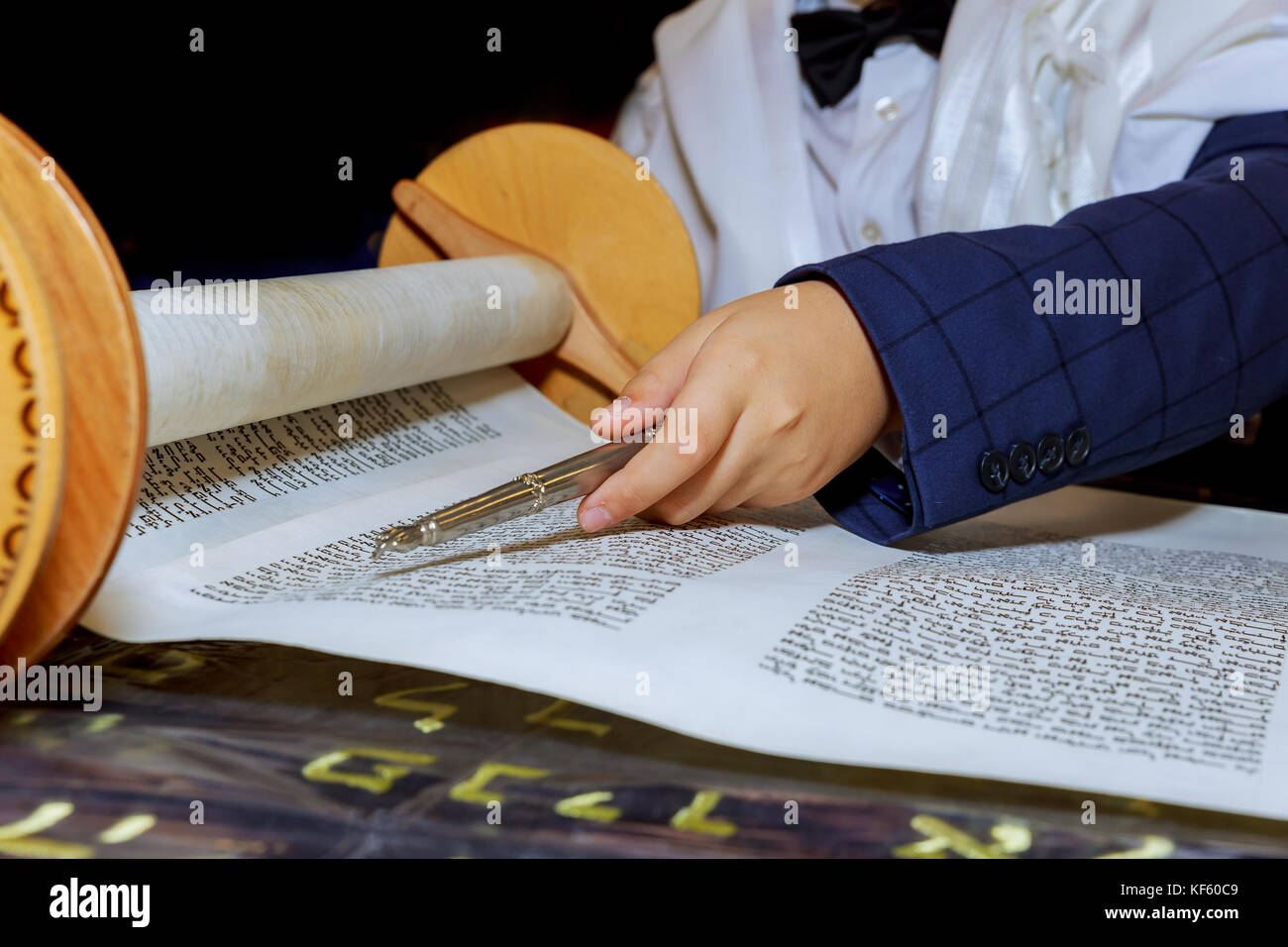 reading torah, bar mitzva down and praying - Stock Image