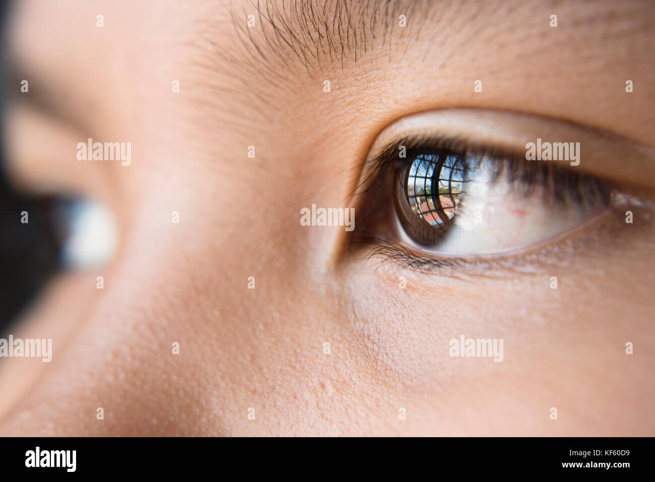 eye looking out to the window - close up of human eye - Stock Image