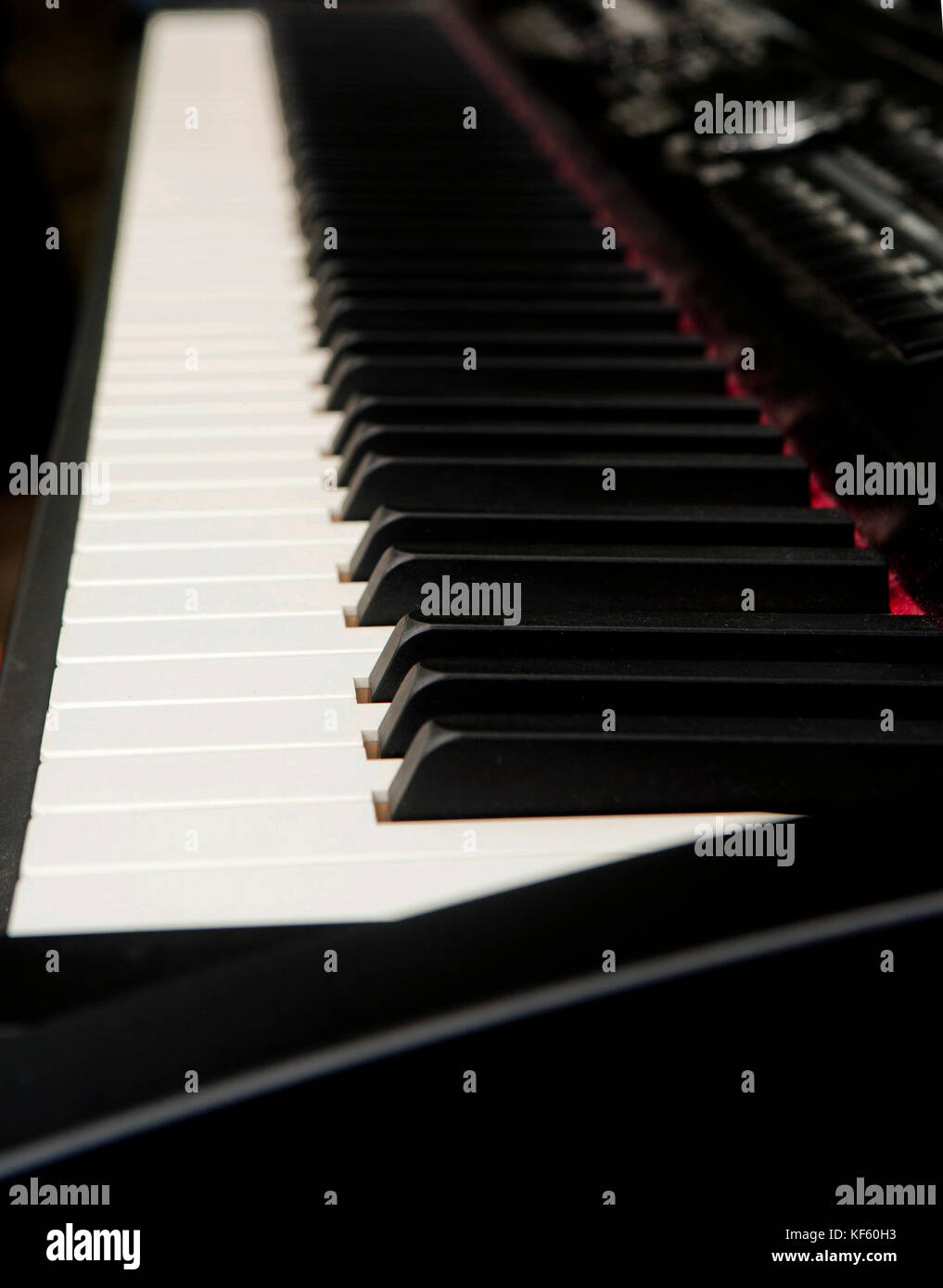 Piano keys on electric piano keyboard - Stock Image