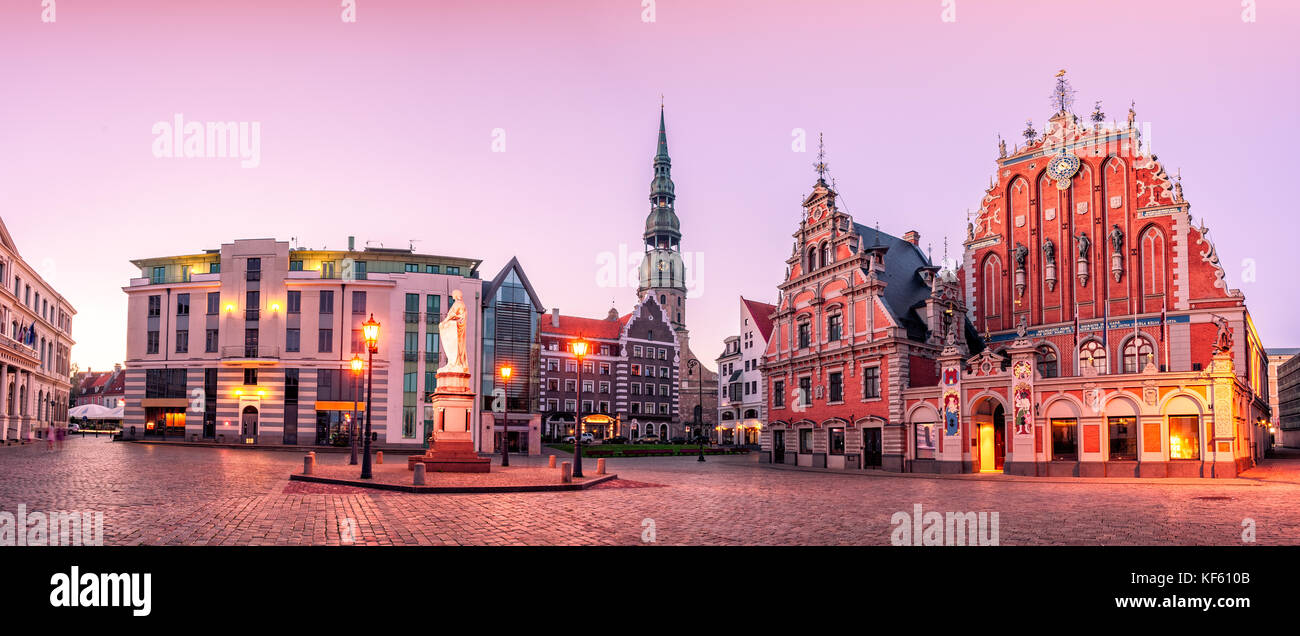 City Hall Square Riga old Town, Latvia - Stock Image
