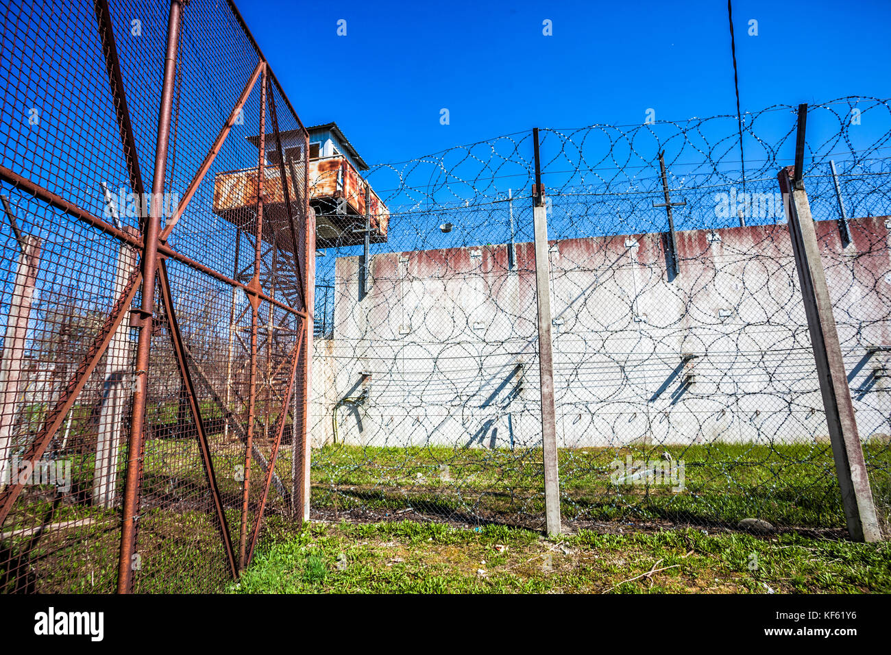 Abandoned Soviet time prison - Stock Image