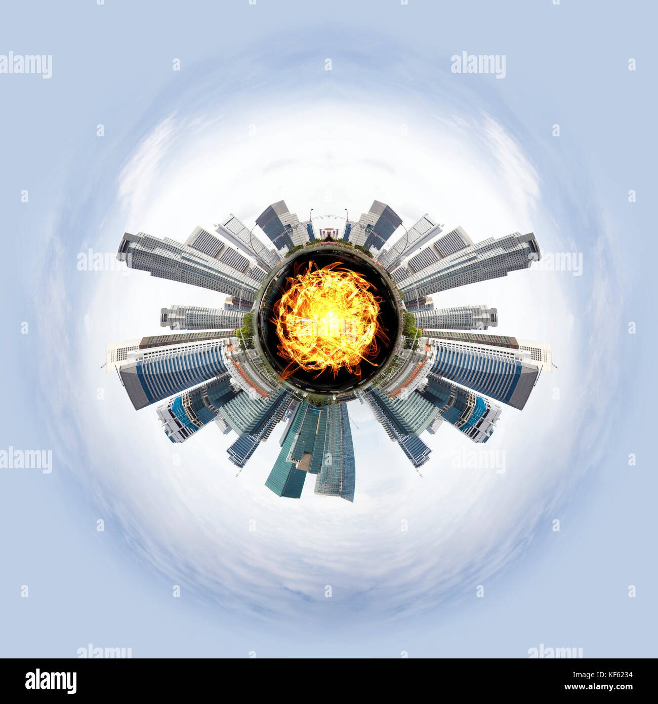 Tiny planet with skyscrapers - Stock Image