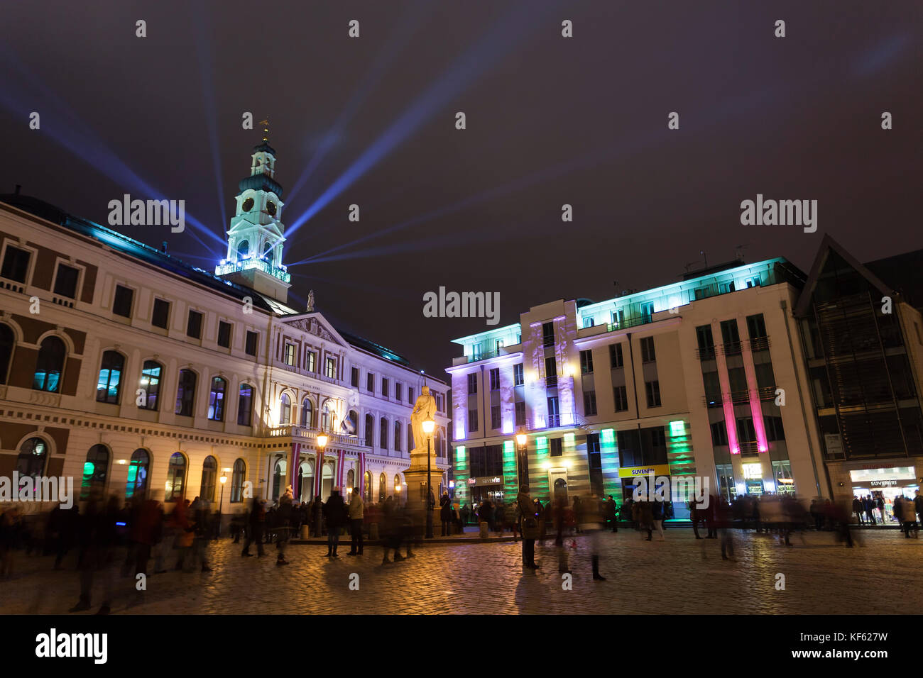 The light festival Staro Riga (Beaming Riga) celebrating anniver - Stock Image