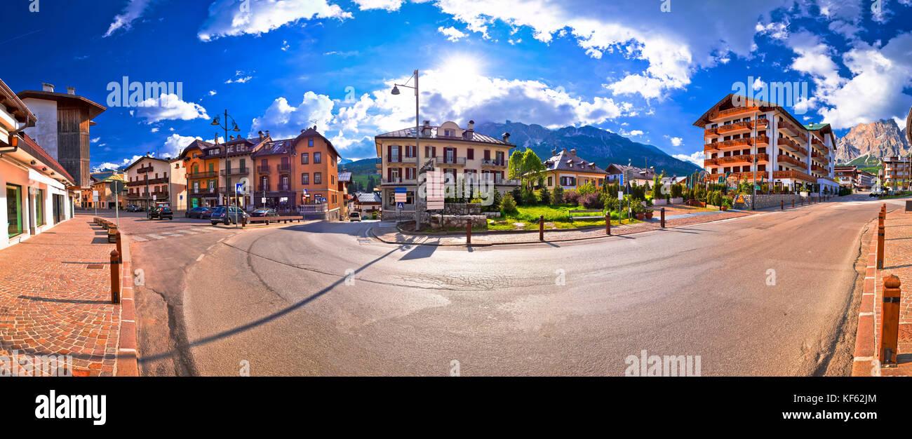 Cortina D' Ampezzo street and Alps peaks panoramic view, Veneto region of Italy - Stock Image