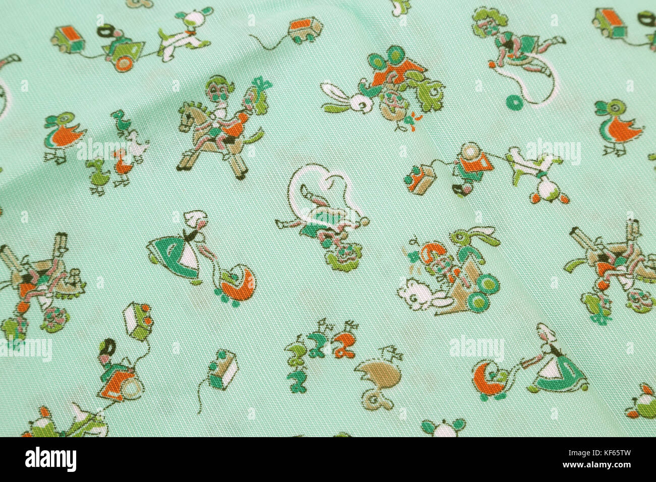 Vintage 1950's Cotton Fabric With Nursery Rhyme Motif - Stock Image