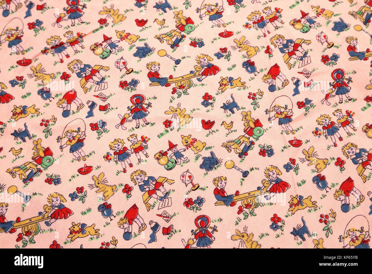 Vintage 1950's Viyella Fabric With Nursery Rhyme Motif - Stock Image