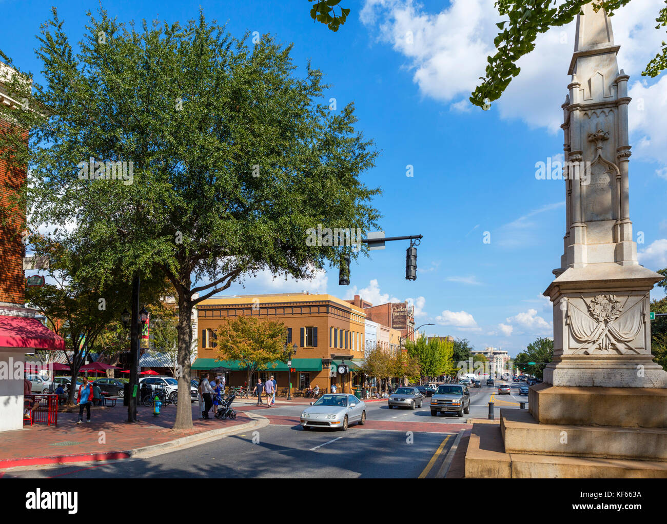 Confederate war memorial on East Broad Street in downtown Athens, Georgia, USA. Stock Photo