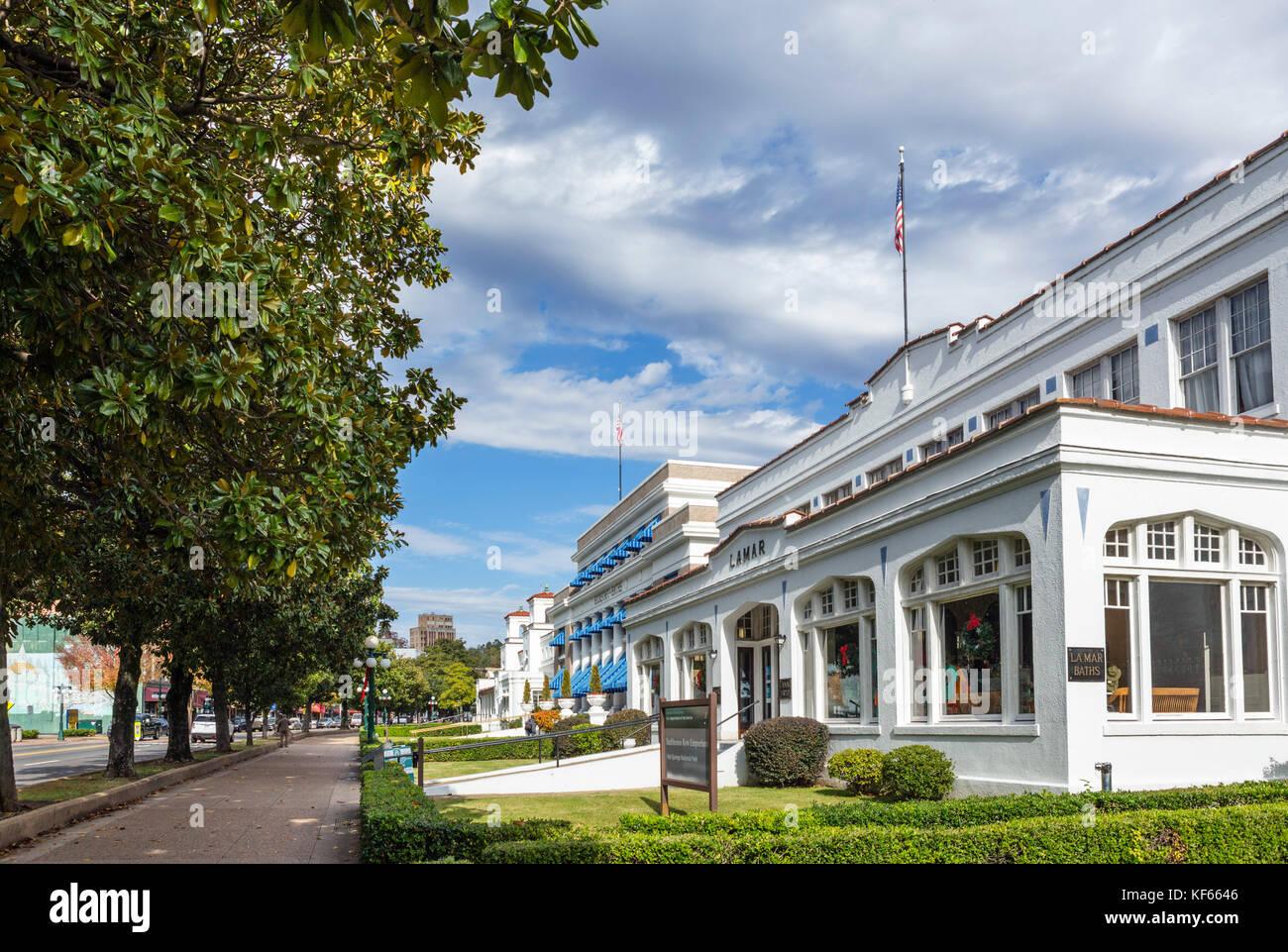 The historic Lamar and Buckstaff bath houses, Central Avenue ('Bathhouse Row'), Hot Springs, Arkansas, USA - Stock Image