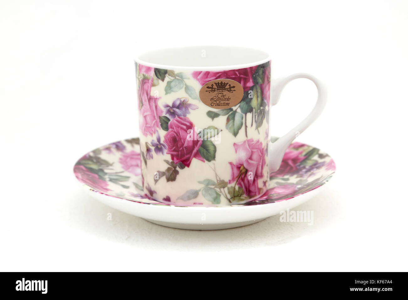 Leonardo Collection China Cup and Saucer with Floral Design - Stock Image