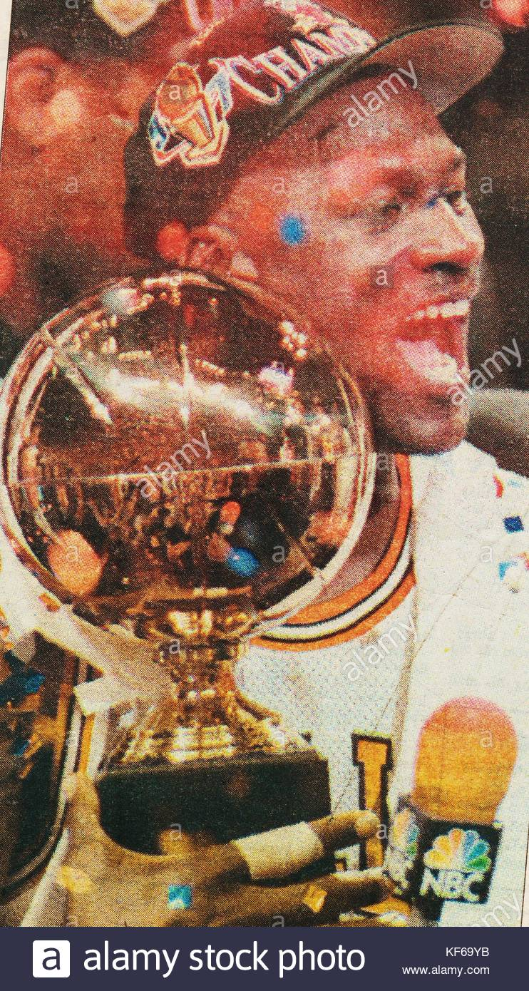 Michael Jordan 1963 Chicago Bulls Basketball Star Holds The Trophy After Team Wins National Association Finals On June 13 1997