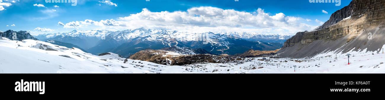 Ultra wide panorama of popular alpine ski resort Madonna di Campiglio, Italy - Stock Image