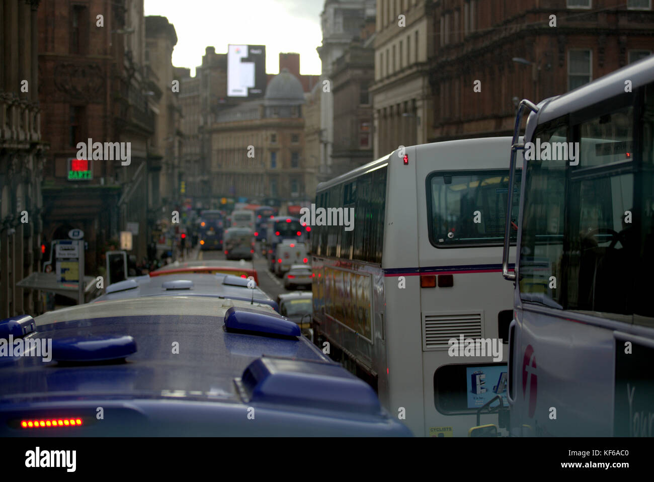 renfield street  looking to  union street traffic congestion from buses and cars fumes and nitrous oxide pollution - Stock Image