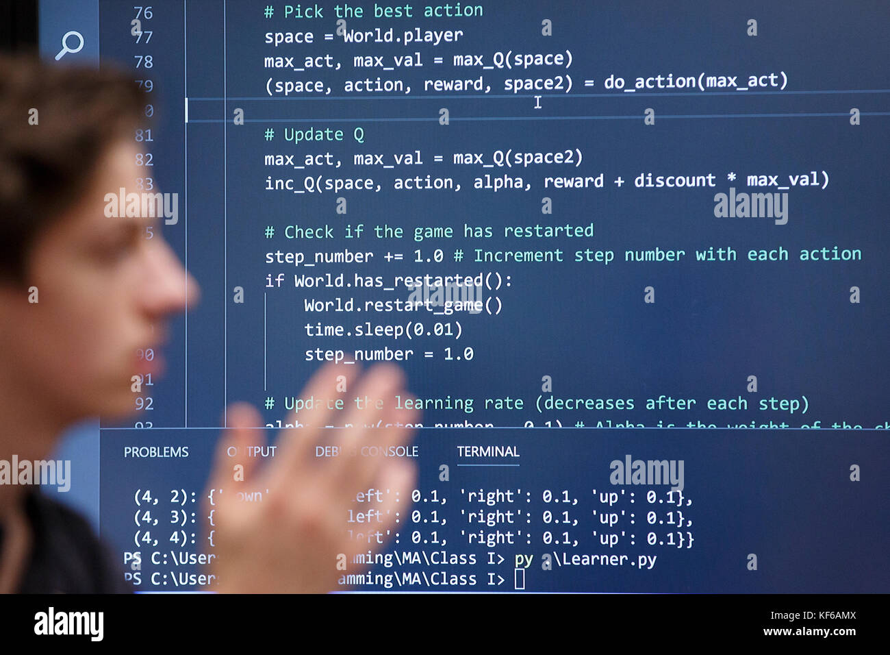 High school computer programming class room student computer code