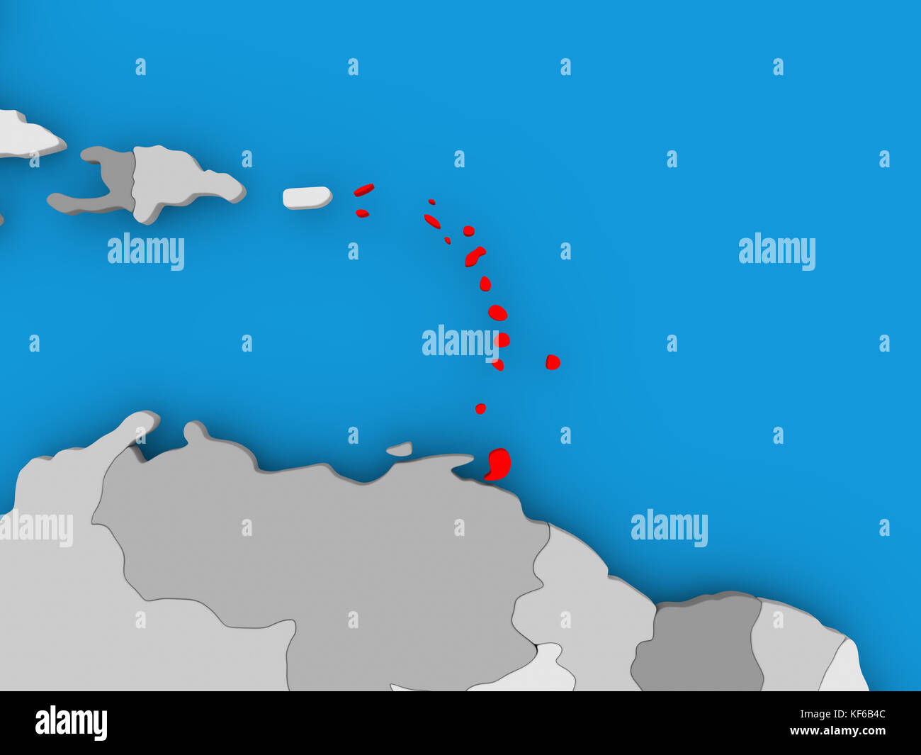 Caribbean in red on political map. 3D illustration Stock Photo ...