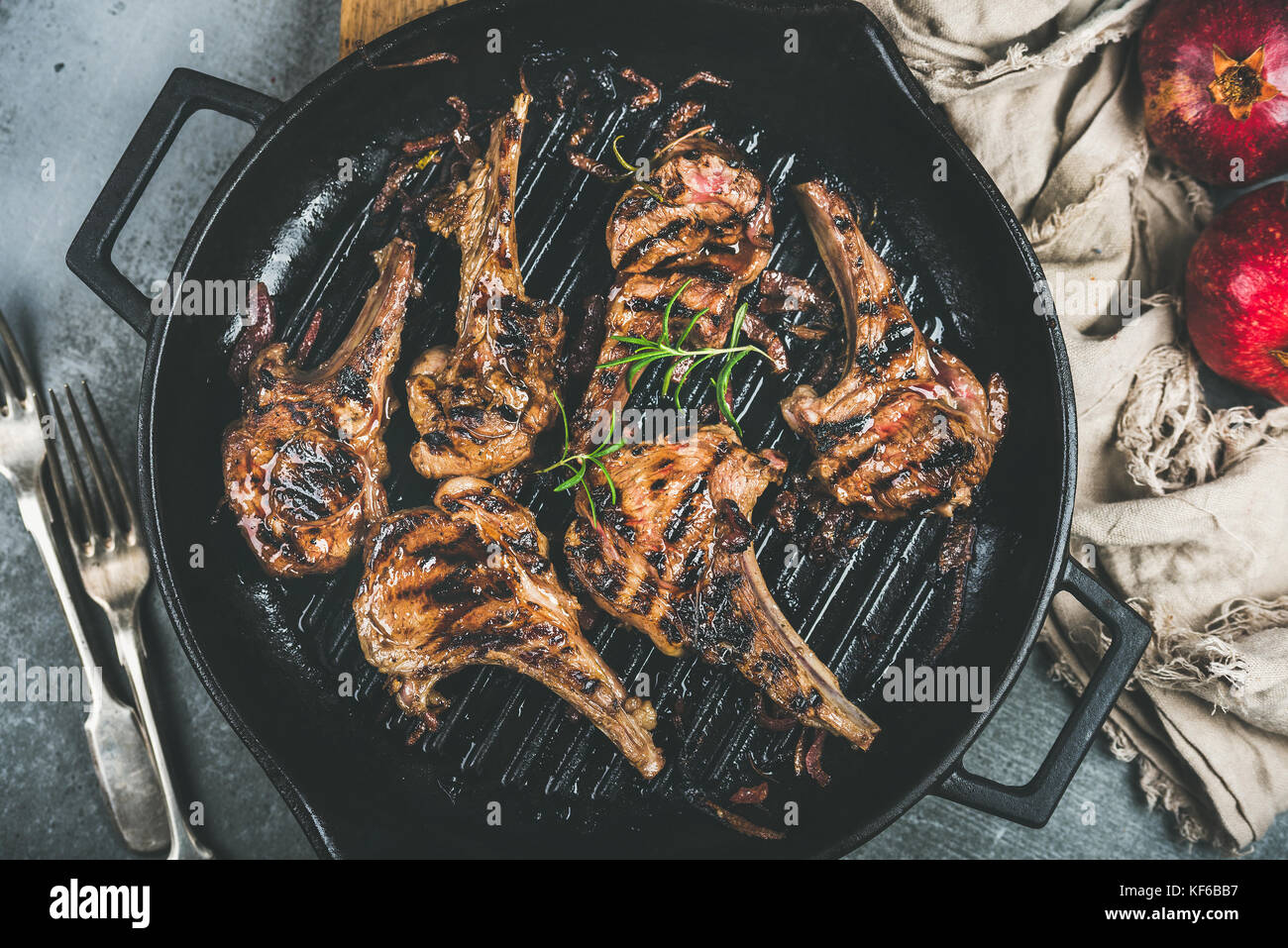 Barbecue dinner with grilled lamb meat chops in pan - Stock Image