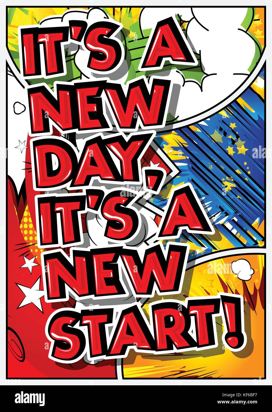 Its A New Day Its A New Start Vector Illustrated Comic Book