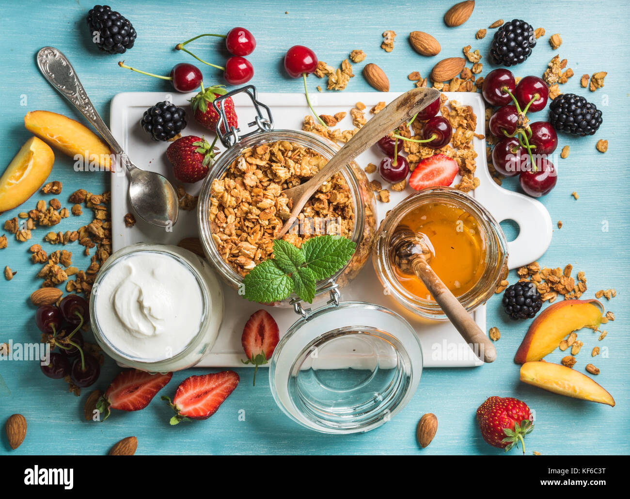 Healthy breakfast ingredients - Stock Image