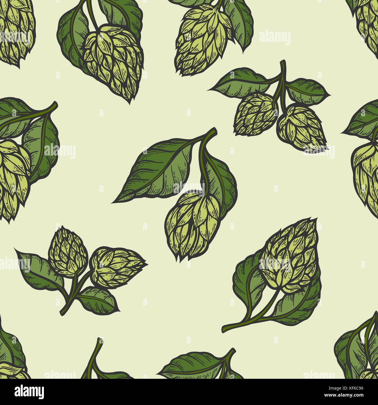 Hop Vector Seamless Pattern Hand Drawn Artistic Beer Green Hops