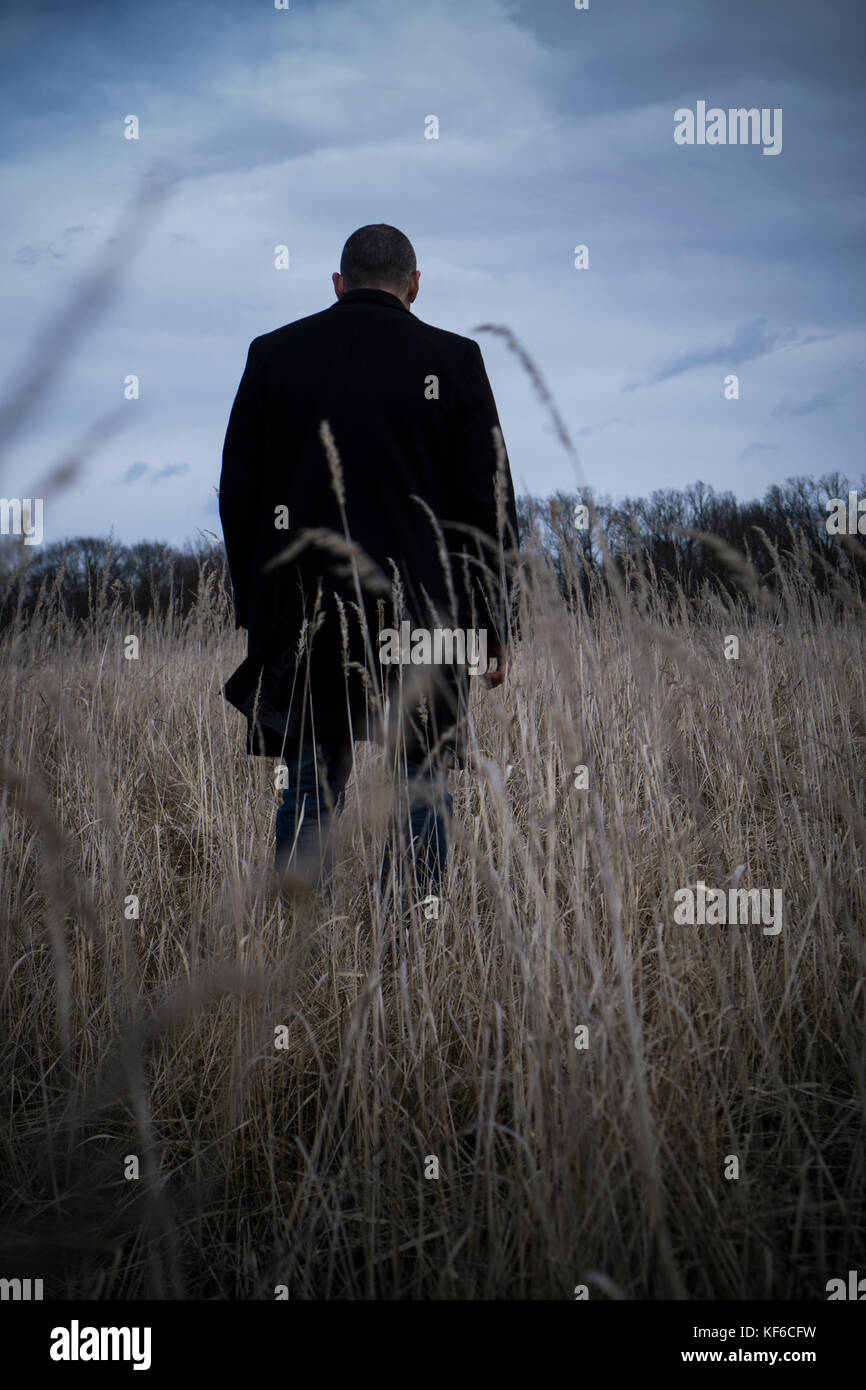 Rear view of a man wearing a coat standing in a field - Stock Image
