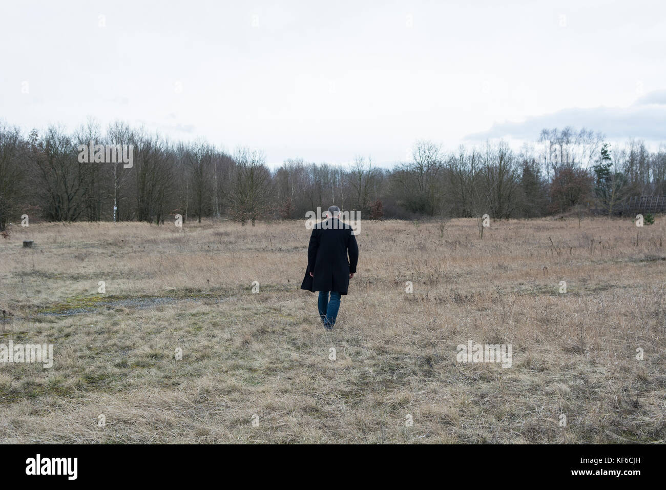 Rear view view of a man wearing a coat walking away in a field - Stock Image